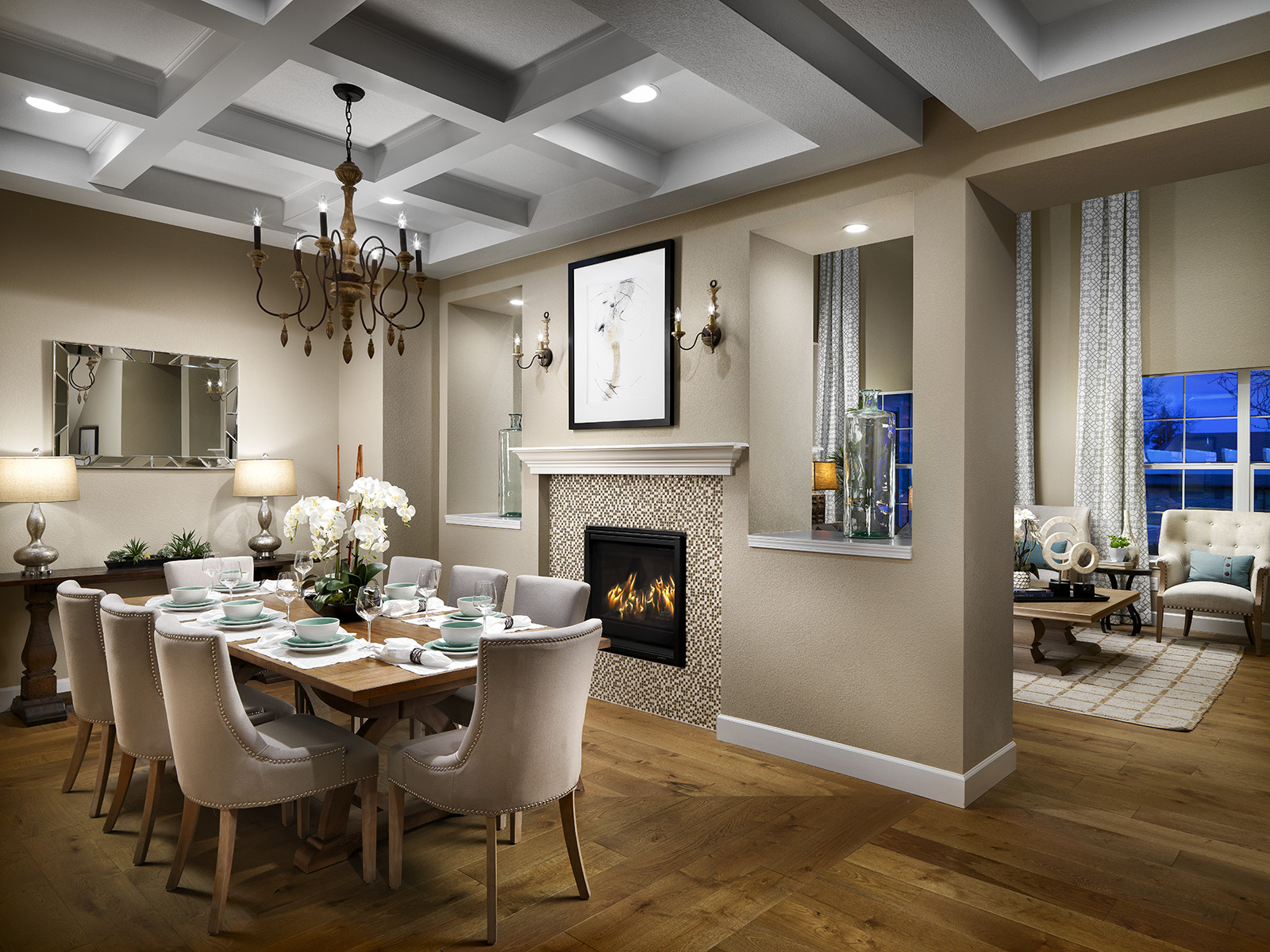 The Kenosha's two sided fire place warms the elegant dining and great room