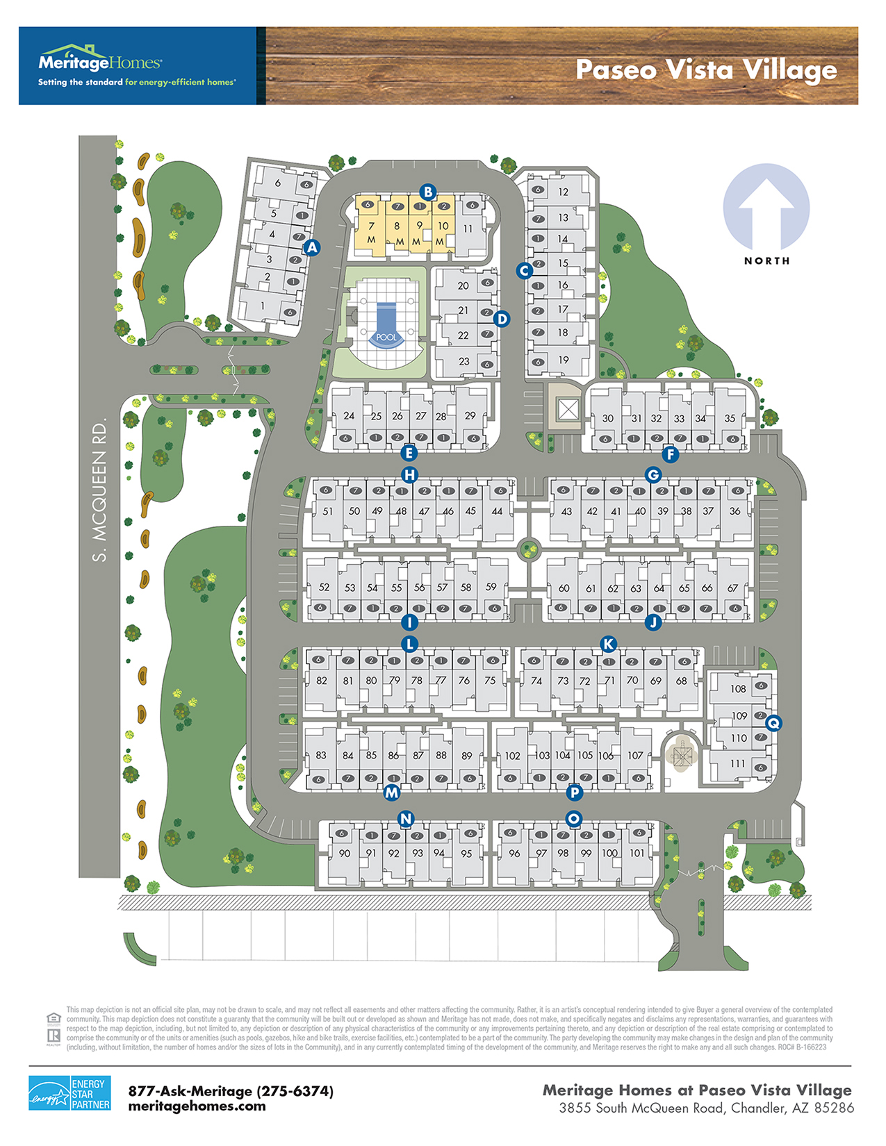 Paseo Vista Village Lot Map