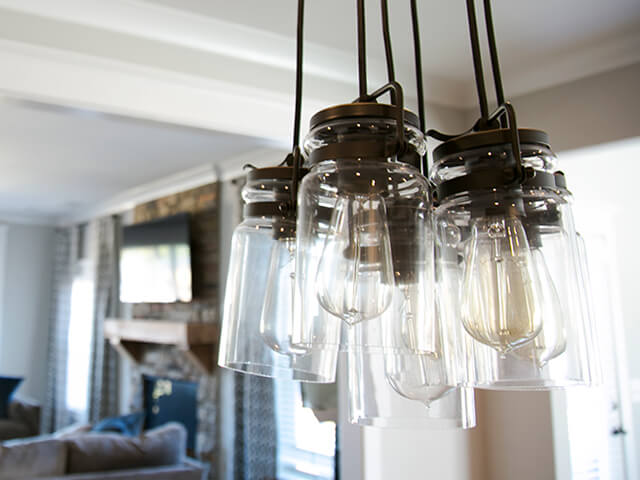 Creative light fixture with mason jars