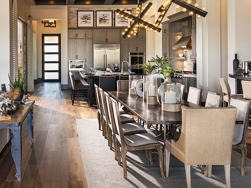 Dining room with wooden floors