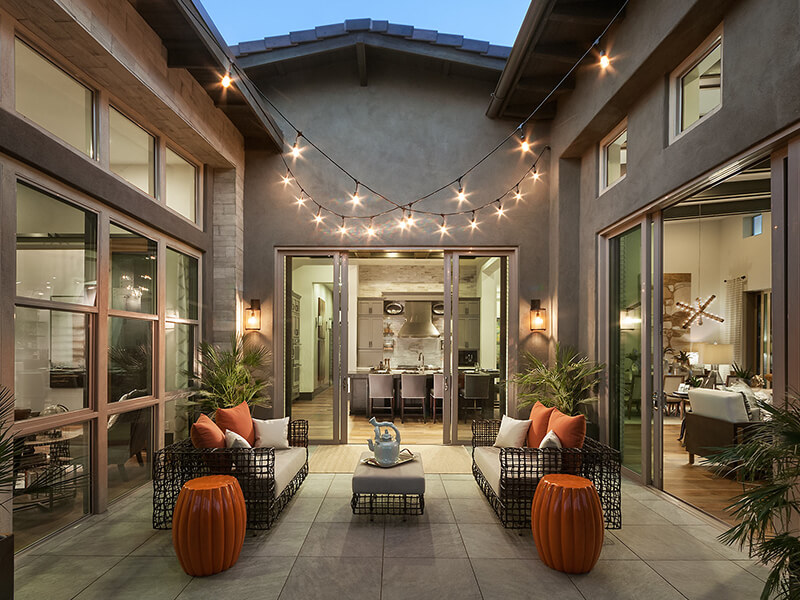 Home courtyard with festive lights