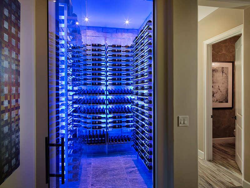 Modern wine cellar with neon lights
