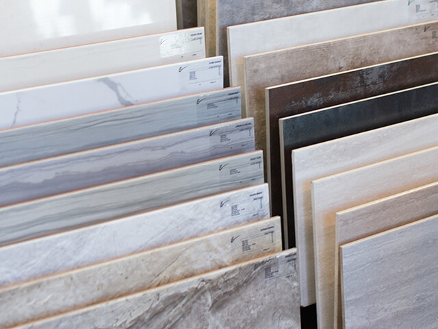 Flooring samples in a variety of colors and styles