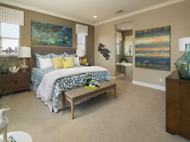 Bedroom with beige carpet
