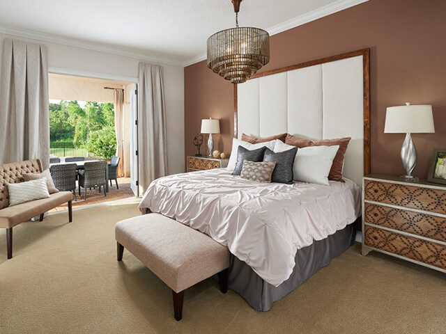 Bedroom with large headboard