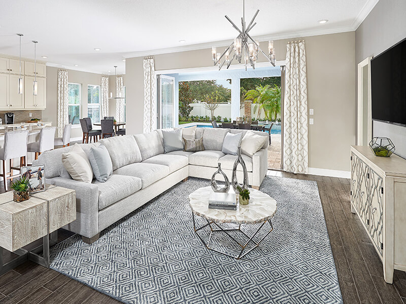 Living room with large white couch