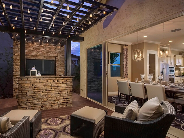 Outdoor patio with stone bar