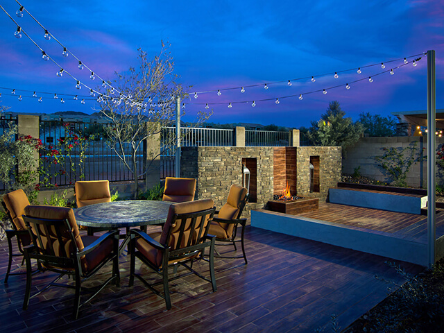 Open outdoor patio with seating