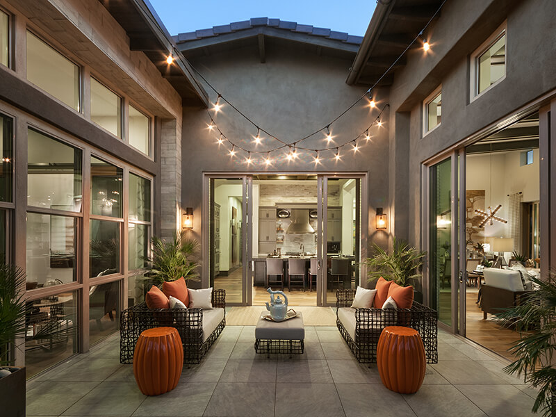Courtyard with hanging lights
