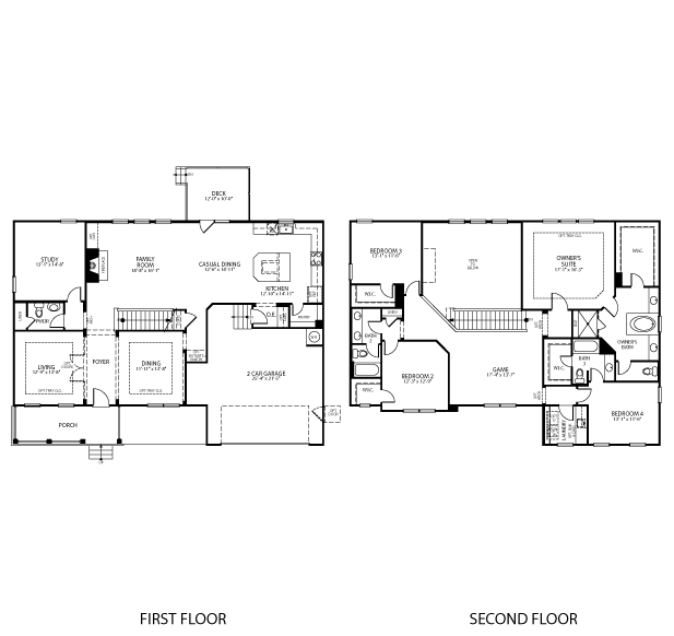 The Monticello II floorplan is 3,461 square feet with 4 bedrooms and 3-1/2 baths