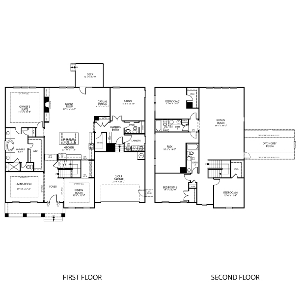 The Avon floorplan is 4,226 square feet with 4 bedrooms and 3-1/2 baths.