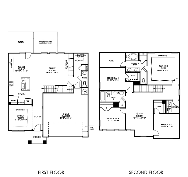 The Carolina floorplan is 2,440 square feet with 4 bedrooms and 2-1/2 baths.