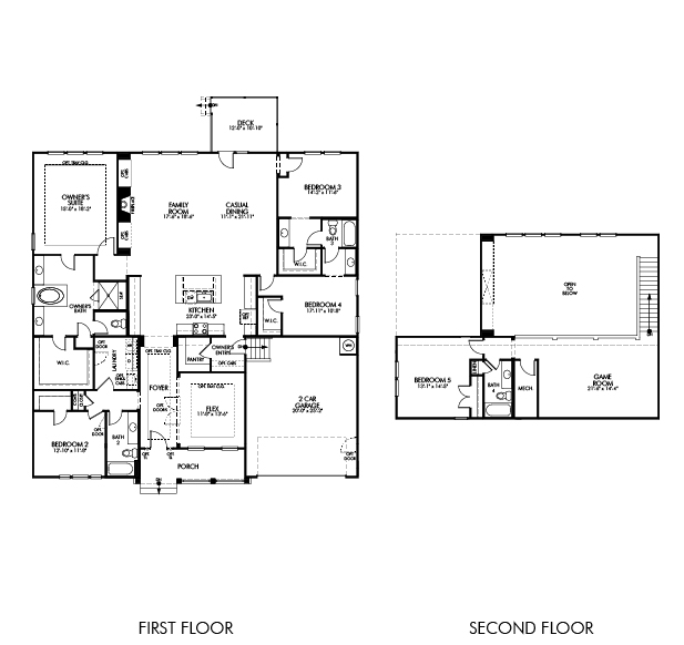 The Pressley II floorplan is 2,865 square feet with 4 bedrooms and 3 baths.
